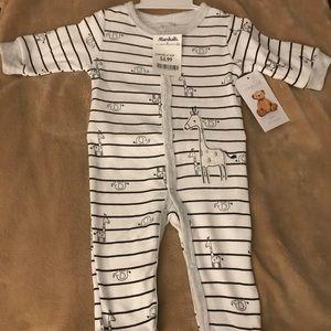 Baby boy 0-3M giraffe button up footless pj